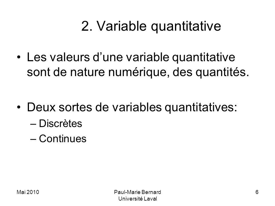 Mai 2010Paul-Marie Bernard Université Laval 6 2. Variable quantitative Les valeurs dune variable quantitative sont de nature numérique, des quantités.