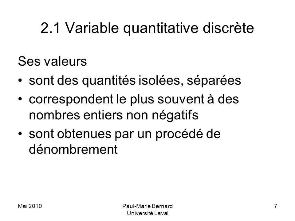 Mai 2010Paul-Marie Bernard Université Laval 7 2.1 Variable quantitative discrète Ses valeurs sont des quantités isolées, séparées correspondent le plu