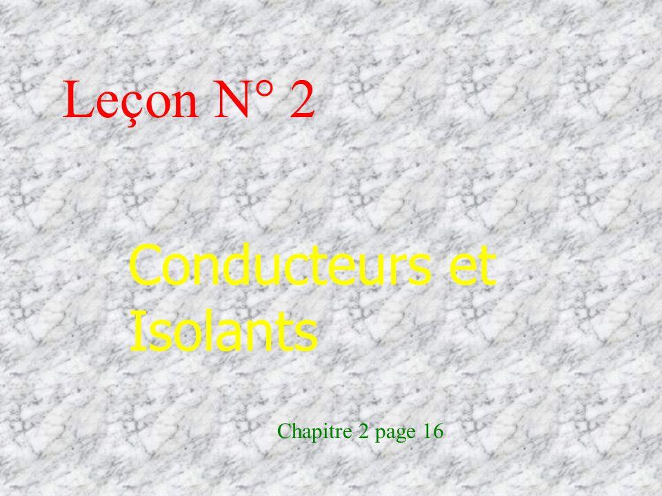 Leçon N° 2 Conducteurs et Isolants Chapitre 2 page 16