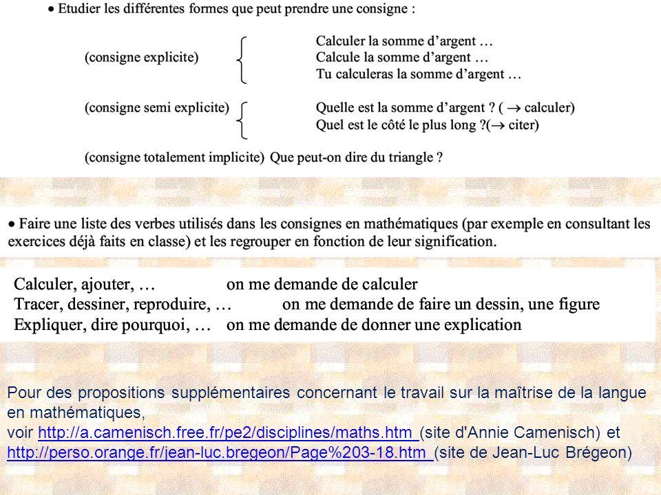 Pour des propositions supplémentaires concernant le travail sur la maîtrise de la langue en mathématiques, voir http://a.camenisch.free.fr/pe2/disciplines/maths.htm (site d Annie Camenisch) ethttp://a.camenisch.free.fr/pe2/disciplines/maths.htm http://perso.orange.fr/jean-luc.bregeon/Page%203-18.htm http://perso.orange.fr/jean-luc.bregeon/Page%203-18.htm (site de Jean-Luc Brégeon)