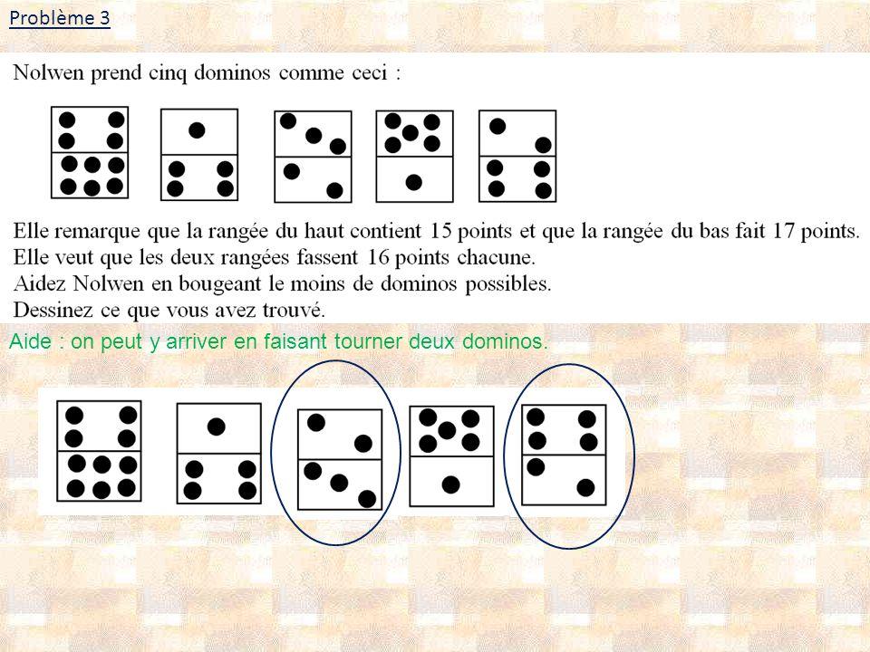 Problème 3 Aide : on peut y arriver en faisant tourner deux dominos.