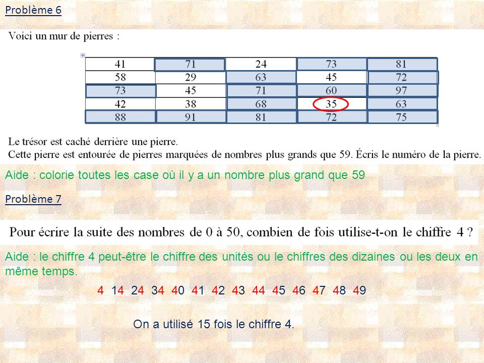 Problème 6 Problème 7 4 14 24 34 40 41 42 43 44 45 46 47 48 49 On a utilisé 15 fois le chiffre 4. Aide : colorie toutes les case où il y a un nombre p
