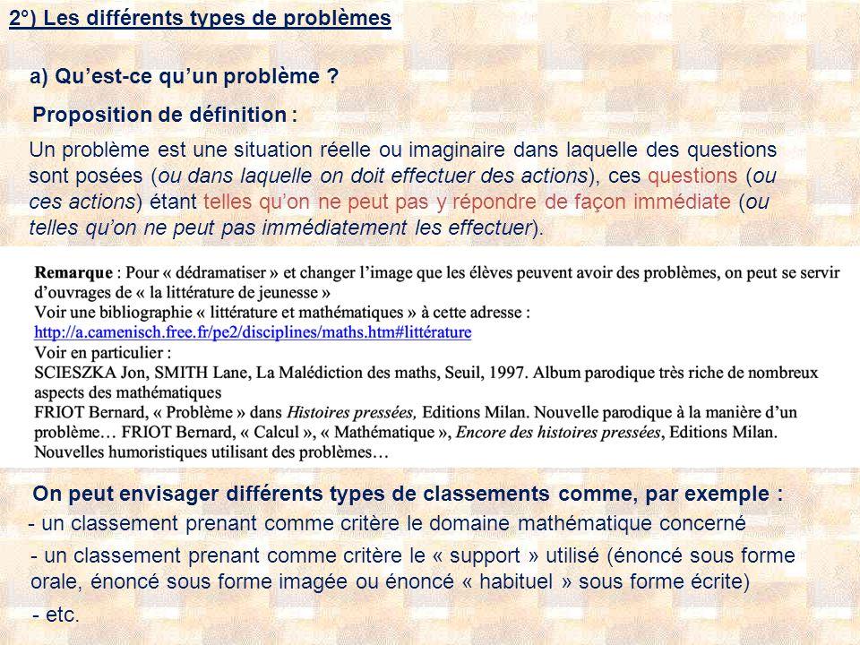 2°) Les différents types de problèmes a) Quest-ce quun problème ? Proposition de définition : Un problème est une situation réelle ou imaginaire dans