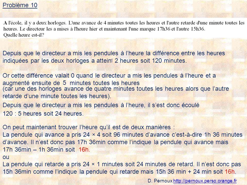 Depuis que le directeur a mis les pendules à lheure la différence entre les heures indiquées par les deux horloges a atteint ….