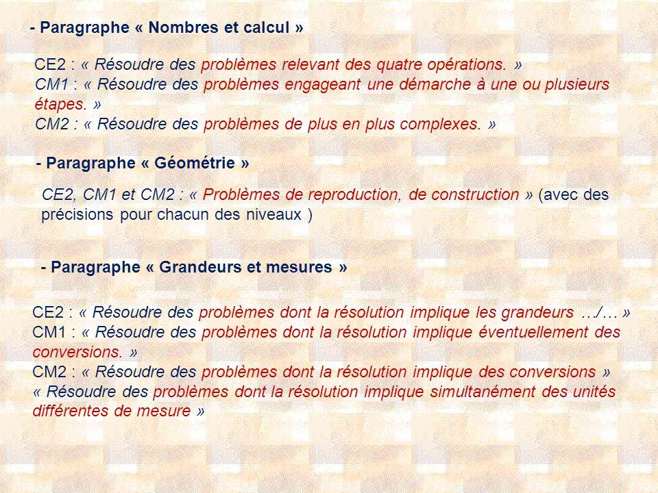 - Paragraphe « Nombres et calcul » CE2 : « Résoudre des problèmes relevant des quatre opérations. » CM1 : « Résoudre des problèmes engageant une démar