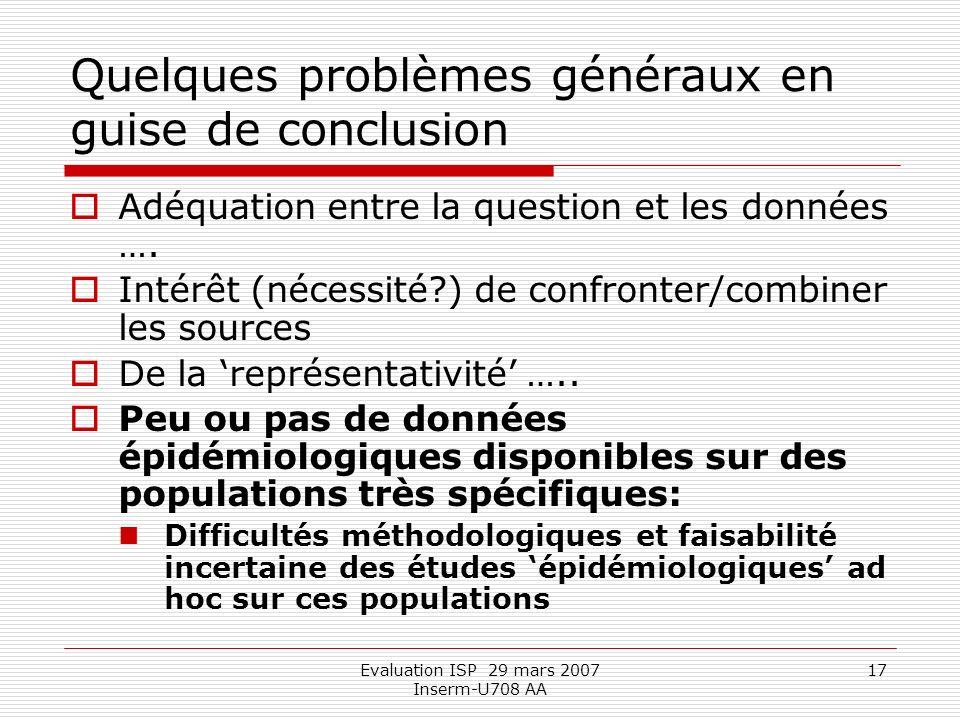 Evaluation ISP 29 mars 2007 Inserm-U708 AA 17 Quelques problèmes généraux en guise de conclusion Adéquation entre la question et les données ….