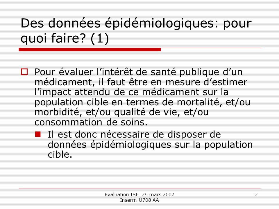 Evaluation ISP 29 mars 2007 Inserm-U708 AA 2 Des données épidémiologiques: pour quoi faire.