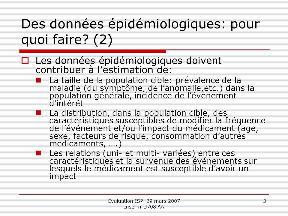 Evaluation ISP 29 mars 2007 Inserm-U708 AA 14 Où trouver les données épidémiologiques pertinentes, suffisamment représentatives et valides.