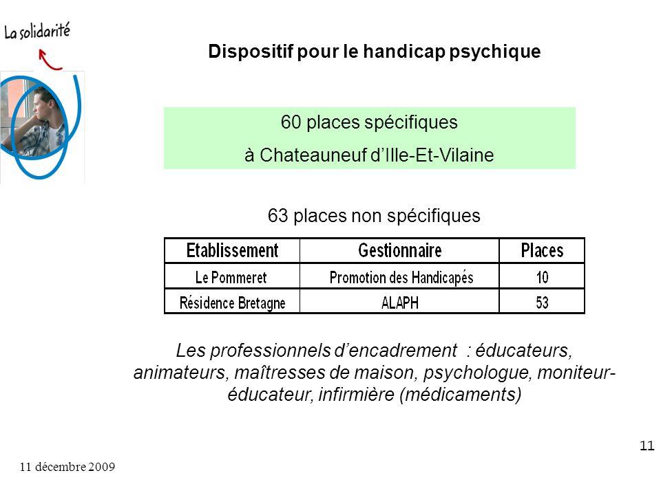 11 décembre 2009 11 Dispositif pour le handicap psychique 60 places spécifiques à Chateauneuf dIlle-Et-Vilaine 63 places non spécifiques Les professionnels dencadrement : éducateurs, animateurs, maîtresses de maison, psychologue, moniteur- éducateur, infirmière (médicaments)
