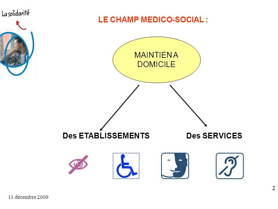 11 décembre 2009 2 LE CHAMP MEDICO-SOCIAL : Des ETABLISSEMENTSDes SERVICES MAINTIEN A DOMICILE