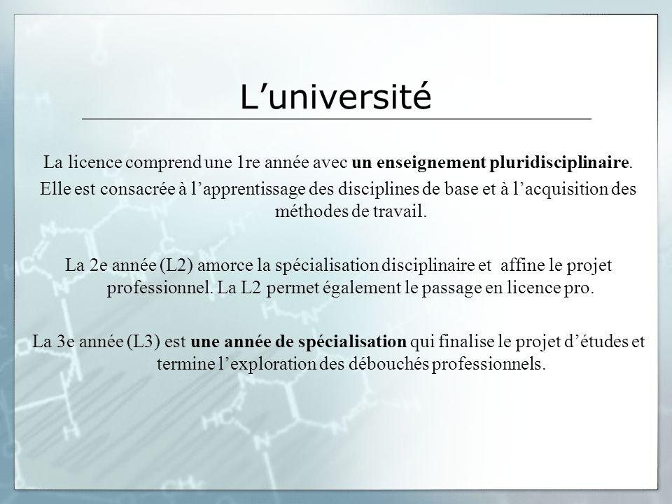Luniversité La licence comprend une 1re année avec un enseignement pluridisciplinaire. Elle est consacrée à lapprentissage des disciplines de base et