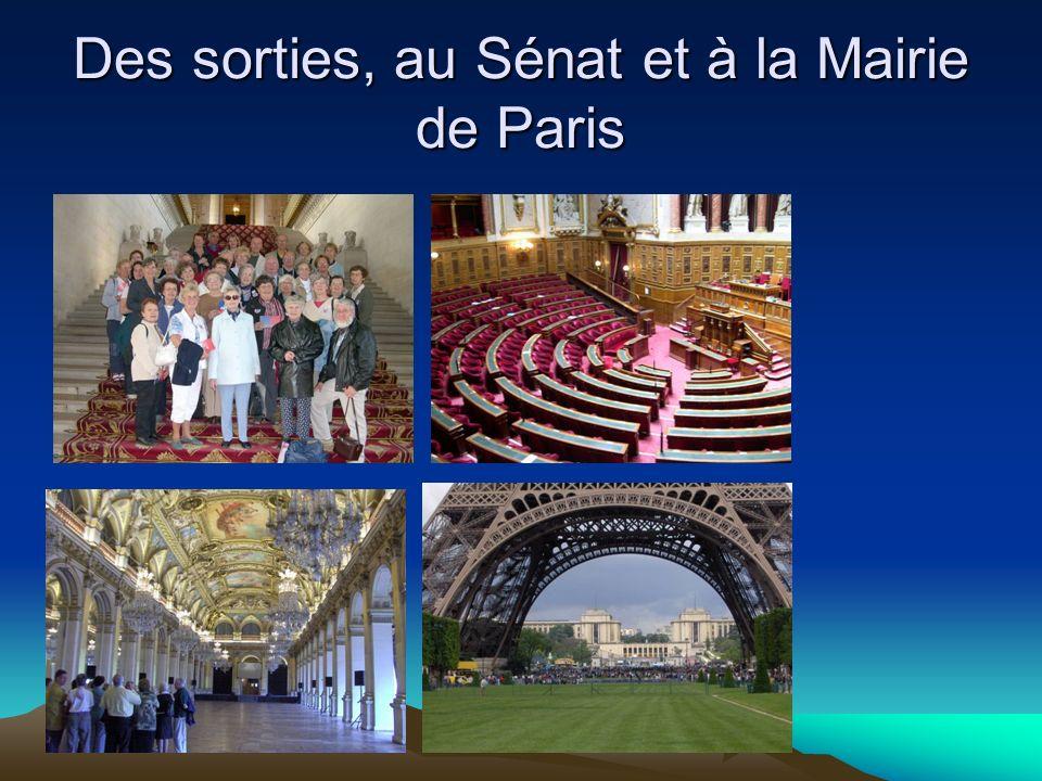 Des sorties, au Sénat et à la Mairie de Paris