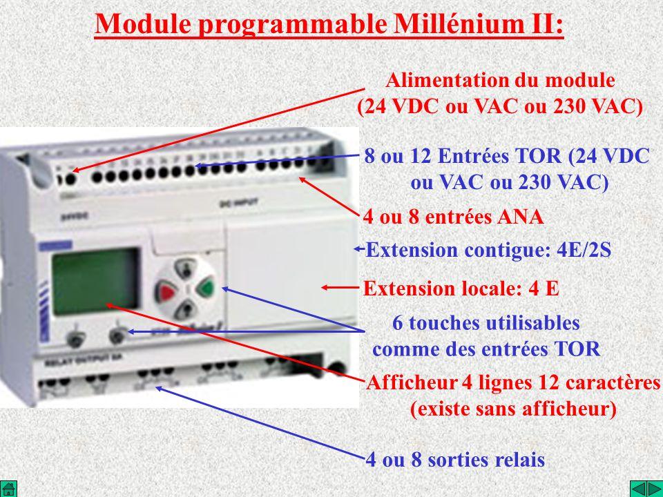 Module programmable Millénium II: Alimentation du module (24 VDC ou VAC ou 230 VAC) 8 ou 12 Entrées TOR (24 VDC ou VAC ou 230 VAC) 6 touches utilisabl
