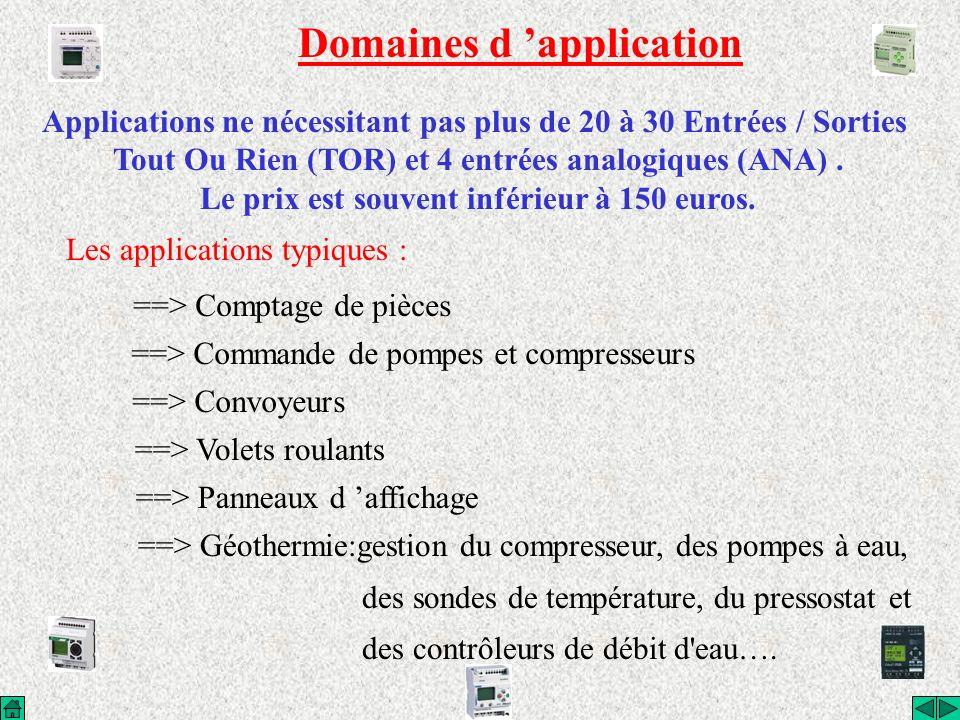Domaines d application Applications ne nécessitant pas plus de 20 à 30 Entrées / Sorties Tout Ou Rien (TOR) et 4 entrées analogiques (ANA). Le prix es