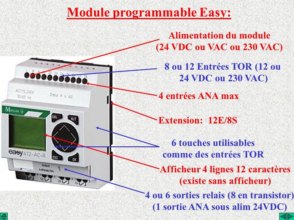 Gamme Easy: Easy 400 8E/4S TOR 2E ana Easy 600 12E/8S TOR 2E ana Easy 800 12E/8S TOR 4E ana 1S ana Unité dextension 12E/8S TOR Unité dextension 2S TOR Coupleur pour module d extension Unité dextension 12E/8S TOR(déporté) Coupleurs réseau: AS-i Profibus CAN DeviceNet