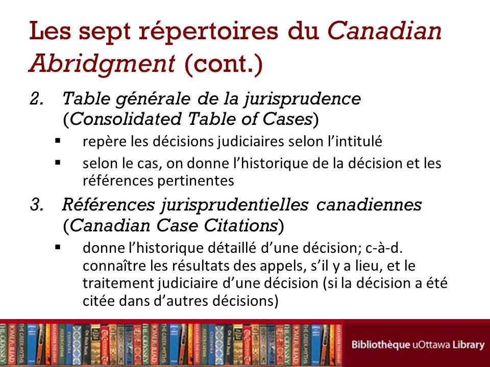 Les sept répertoires du Canadian Abridgment (cont.) 2.Table générale de la jurisprudence (Consolidated Table of Cases) repère les décisions judiciaires selon lintitulé selon le cas, on donne lhistorique de la décision et les références pertinentes 3.Références jurisprudentielles canadiennes (Canadian Case Citations) donne lhistorique détaillé dune décision; c-à-d.