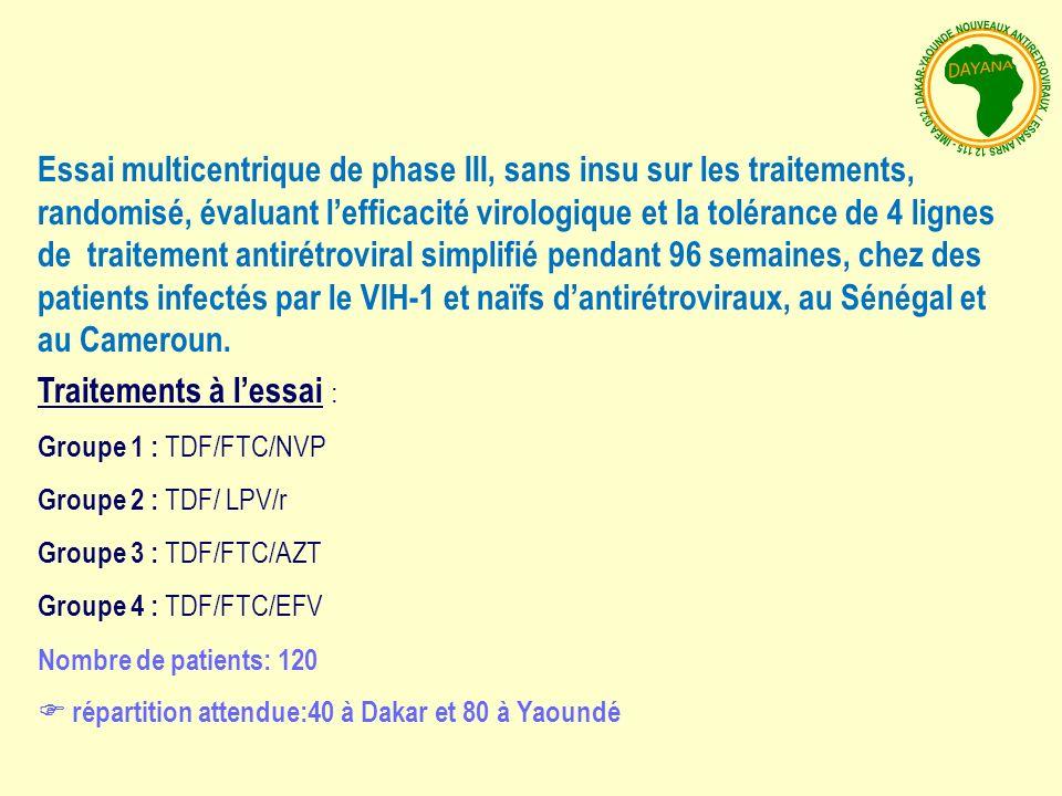 Essai multicentrique de phase III, sans insu sur les traitements, randomisé, évaluant lefficacité virologique et la tolérance de 4 lignes de traitement antirétroviral simplifié pendant 96 semaines, chez des patients infectés par le VIH-1 et naïfs dantirétroviraux, au Sénégal et au Cameroun.