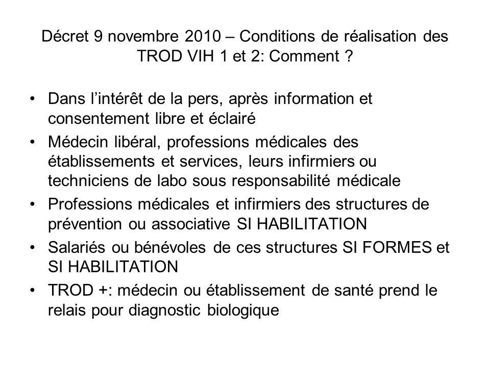 Décret 9 novembre 2010 – Conditions de réalisation des TROD VIH 1 et 2: Comment ? Dans lintérêt de la pers, après information et consentement libre et