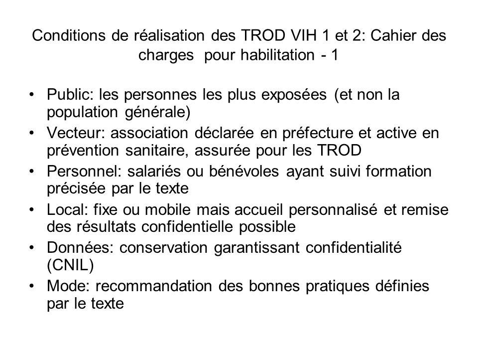 Conditions de réalisation des TROD VIH 1 et 2: Cahier des charges pour habilitation - 1 Public: les personnes les plus exposées (et non la population