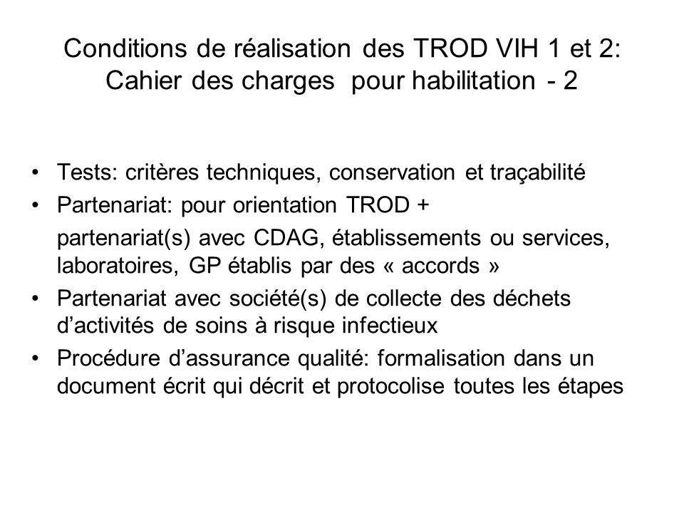 Conditions de réalisation des TROD VIH 1 et 2: Cahier des charges pour habilitation - 3 Le texte détaille le contenu du dossier de demande en son annexe I Il précise objectifs et contenus de la formation requise et les recommandations de bonne pratique de lusage des TROD