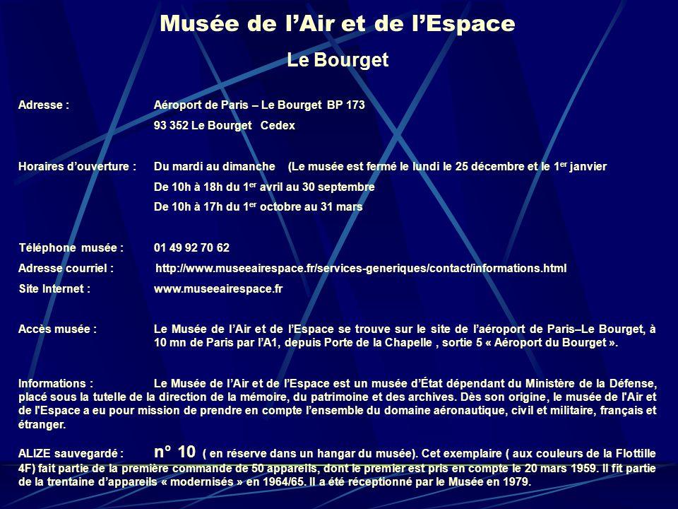 Musée de lAir et de lEspace Le Bourget Adresse : Aéroport de Paris – Le Bourget BP 173 93 352 Le Bourget Cedex Horaires douverture : Du mardi au diman