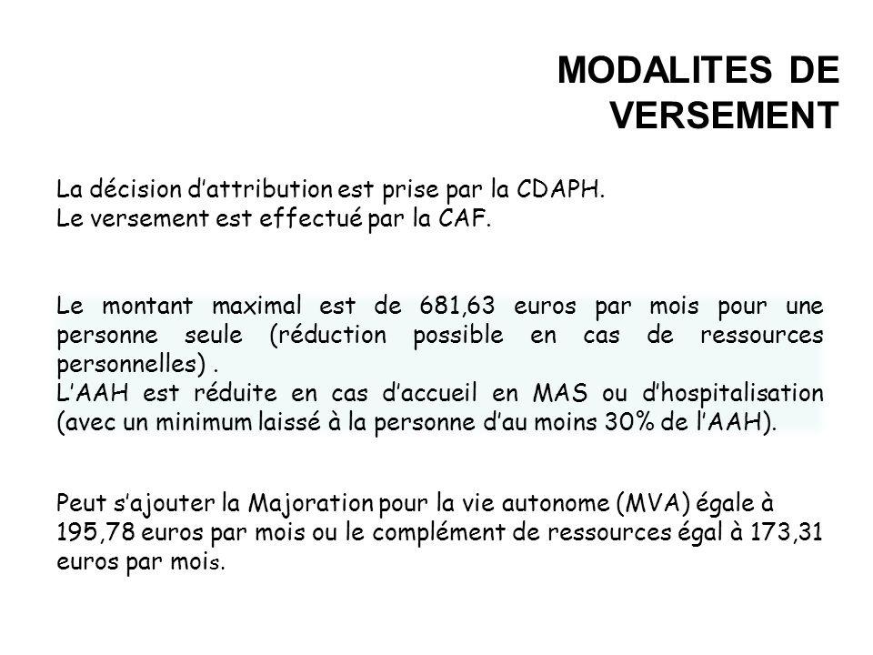 MODALITES DE VERSEMENT La décision dattribution est prise par la CDAPH. Le versement est effectué par la CAF. Le montant maximal est de 681,63 euros p