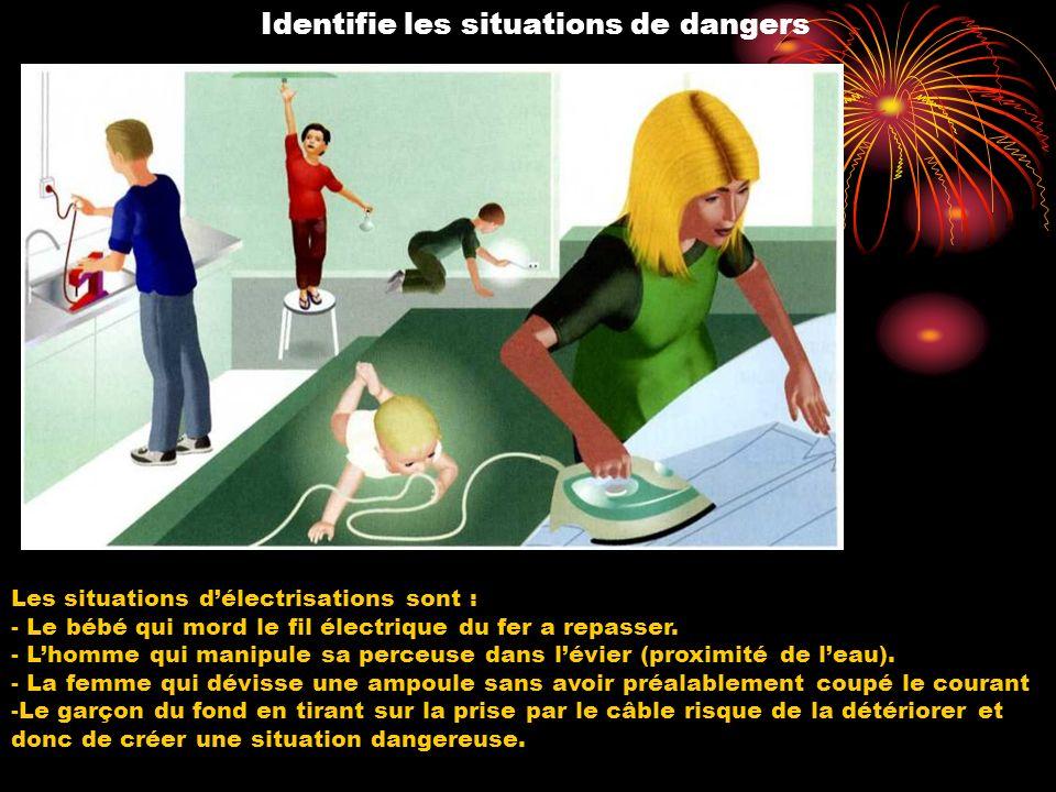 Identifie les situations de dangers Les situations délectrisations sont : - Le bébé qui mord le fil électrique du fer a repasser. - Lhomme qui manipul