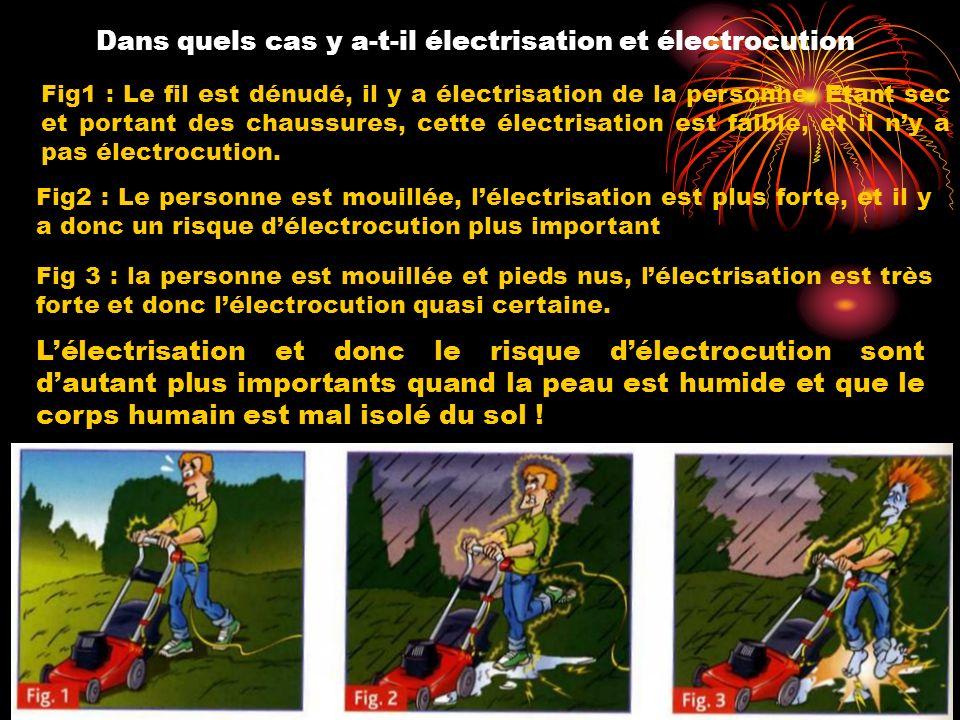 Dans quels cas y a-t-il électrisation et électrocution Fig1 : Le fil est dénudé, il y a électrisation de la personne. Etant sec et portant des chaussu
