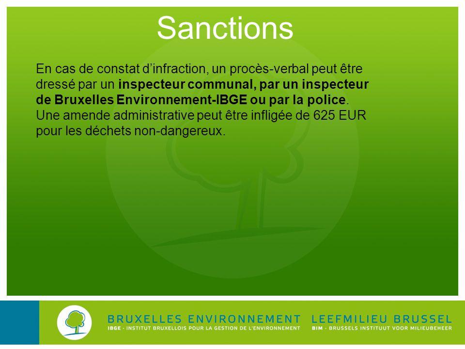 Sanctions En cas de constat dinfraction, un procès-verbal peut être dressé par un inspecteur communal, par un inspecteur de Bruxelles Environnement-IB