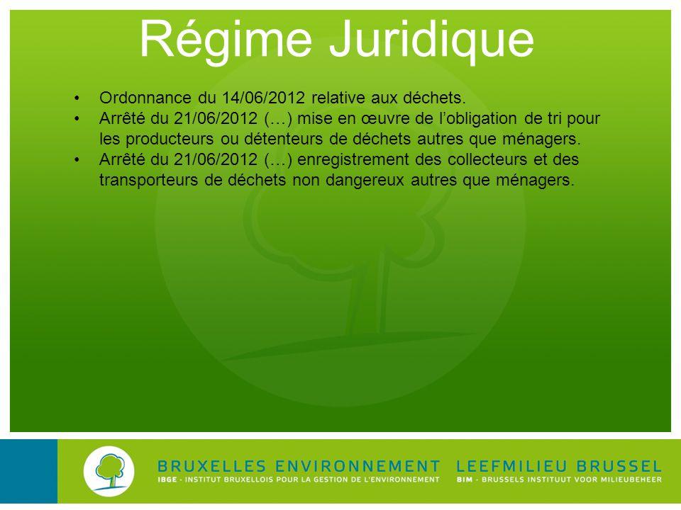 Régime Juridique Ordonnance du 14/06/2012 relative aux déchets. Arrêté du 21/06/2012 (…) mise en œuvre de lobligation de tri pour les producteurs ou d