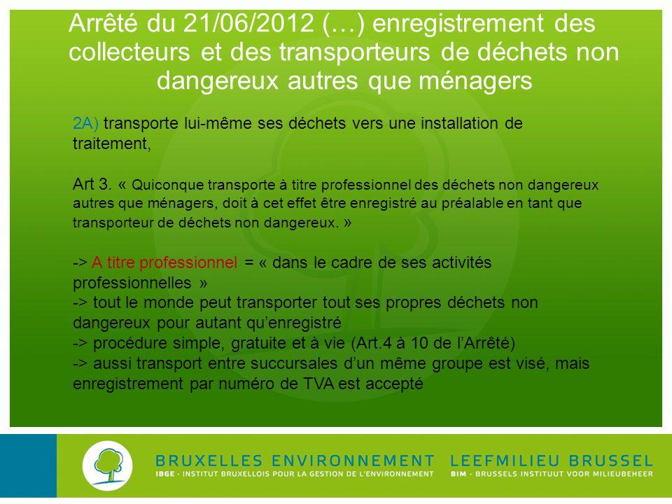 Arrêté du 21/06/2012 (…) enregistrement des collecteurs et des transporteurs de déchets non dangereux autres que ménagers 2A) transporte lui-même ses