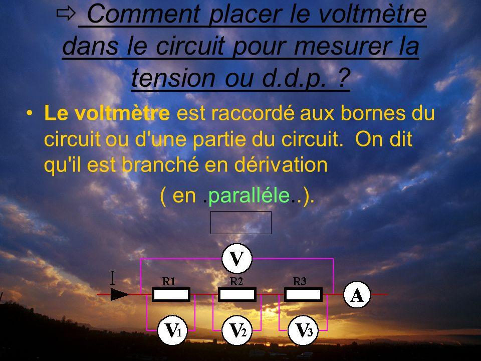Comment placer le voltmètre dans le circuit pour mesurer la tension ou d.d.p.