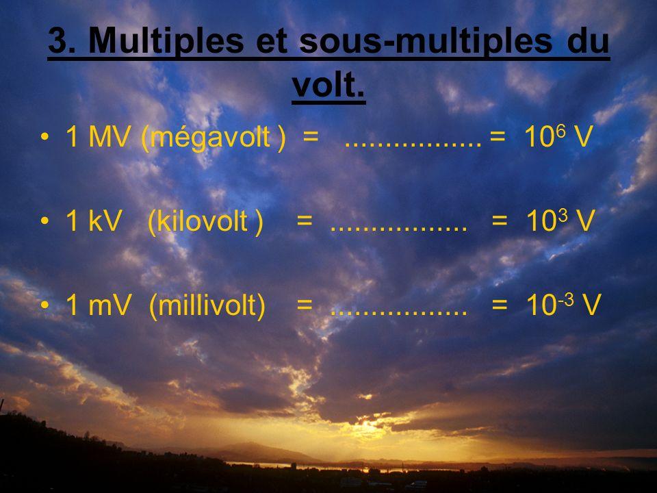 3. Multiples et sous-multiples du volt. 1 MV (mégavolt ) =.................