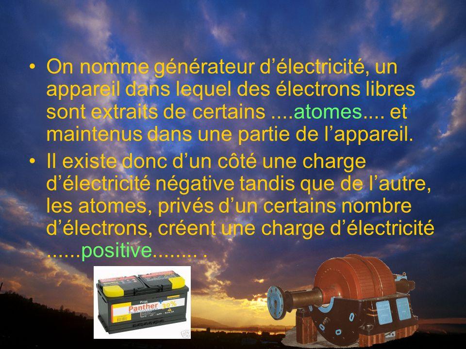 On nomme générateur délectricité, un appareil dans lequel des électrons libres sont extraits de certains....atomes....