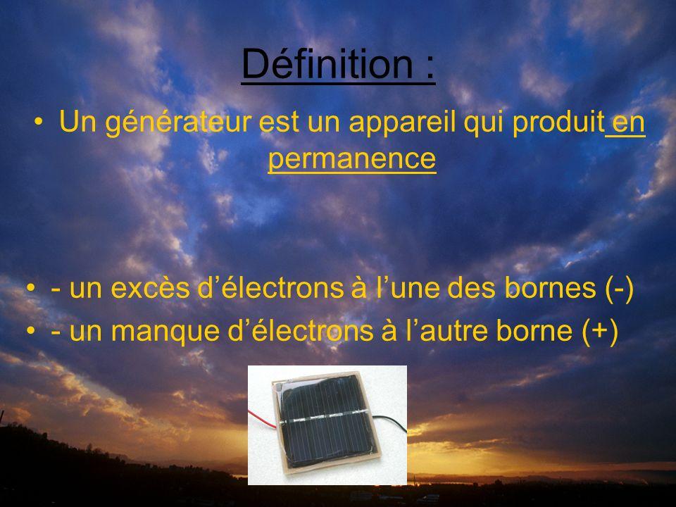 Définition : Un générateur est un appareil qui produit en permanence - un excès délectrons à lune des bornes (-) - un manque délectrons à lautre borne (+)