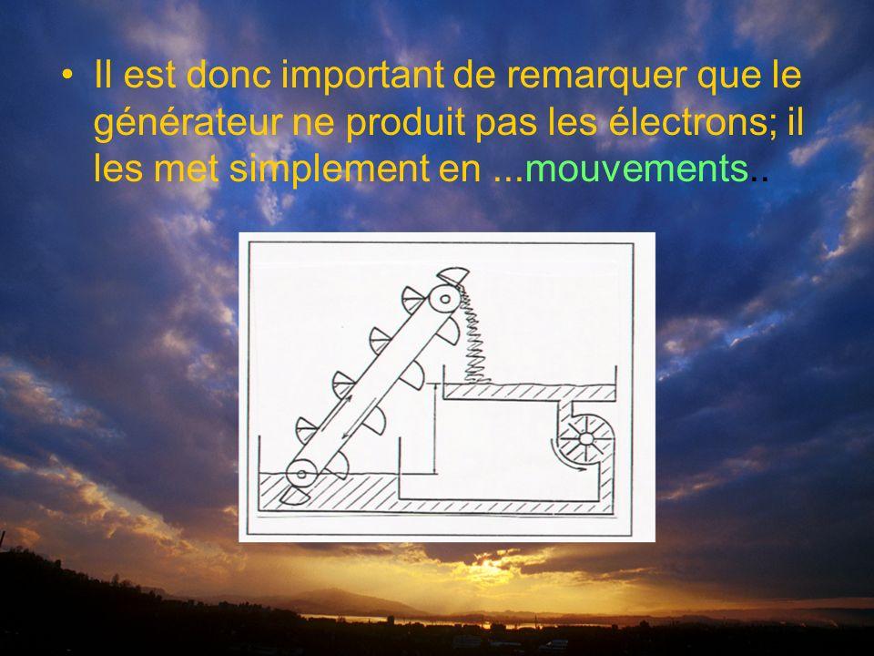 Il est donc important de remarquer que le générateur ne produit pas les électrons; il les met simplement en...mouvements..
