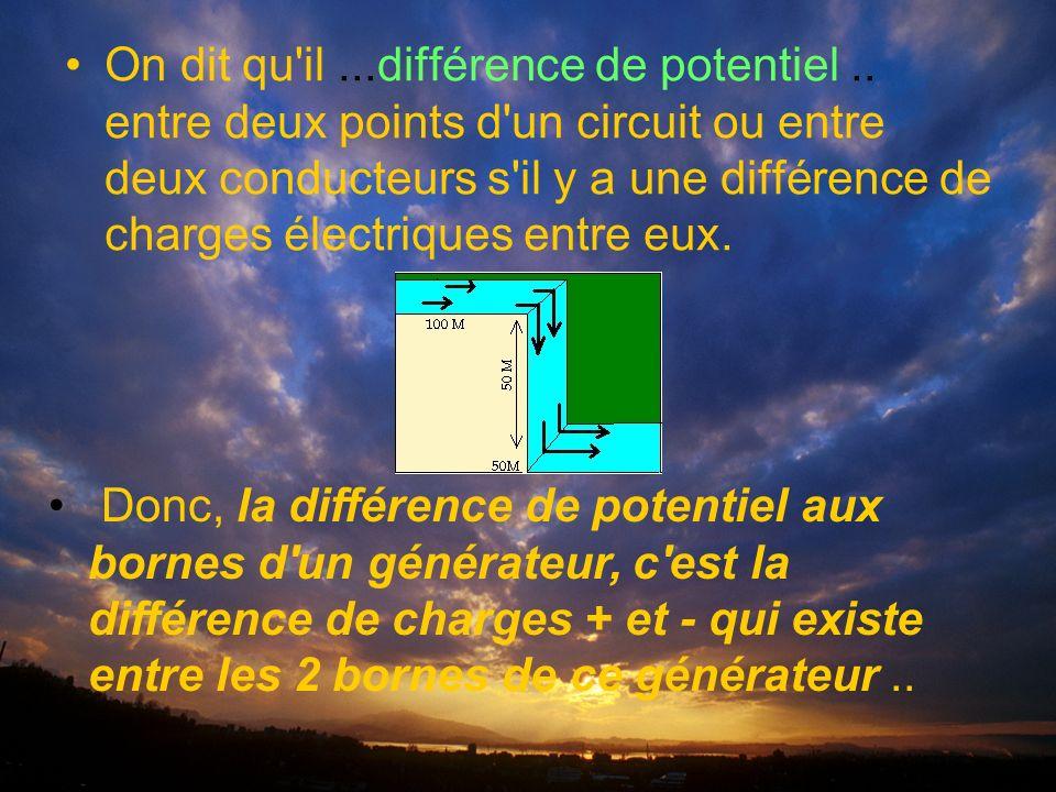 On dit qu il...différence de potentiel..