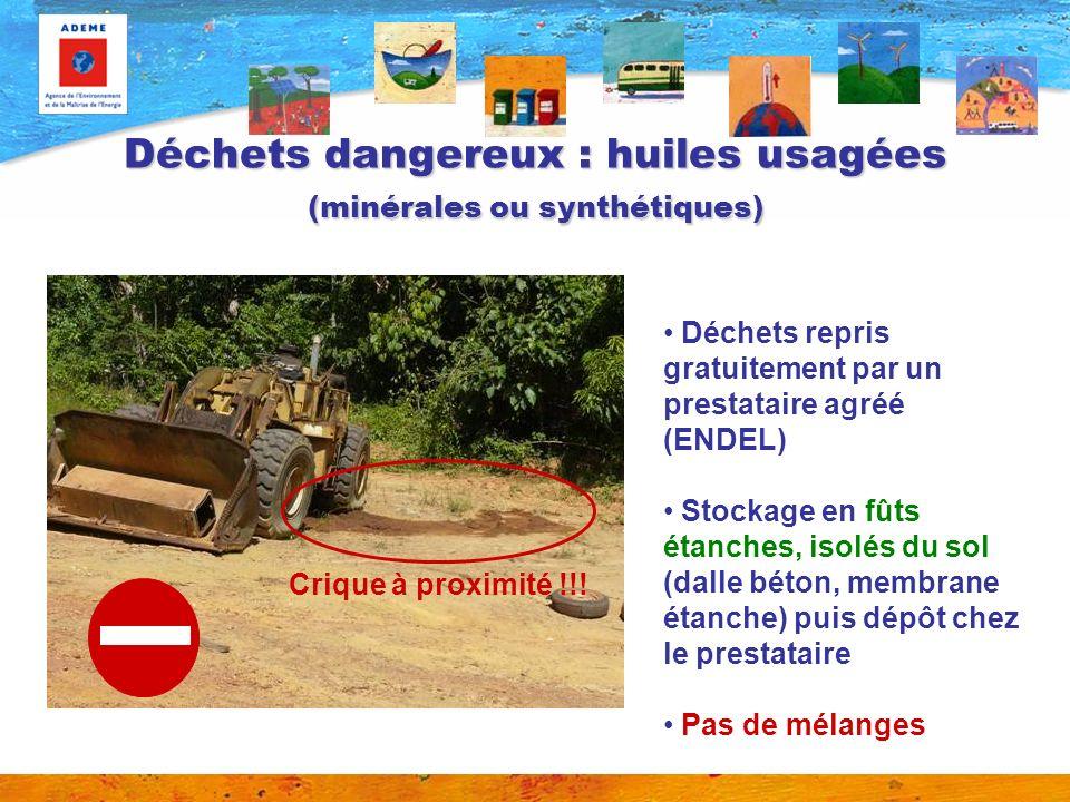 Déchets dangereux : huiles usagées (minérales ou synthétiques) Crique à proximité !!.