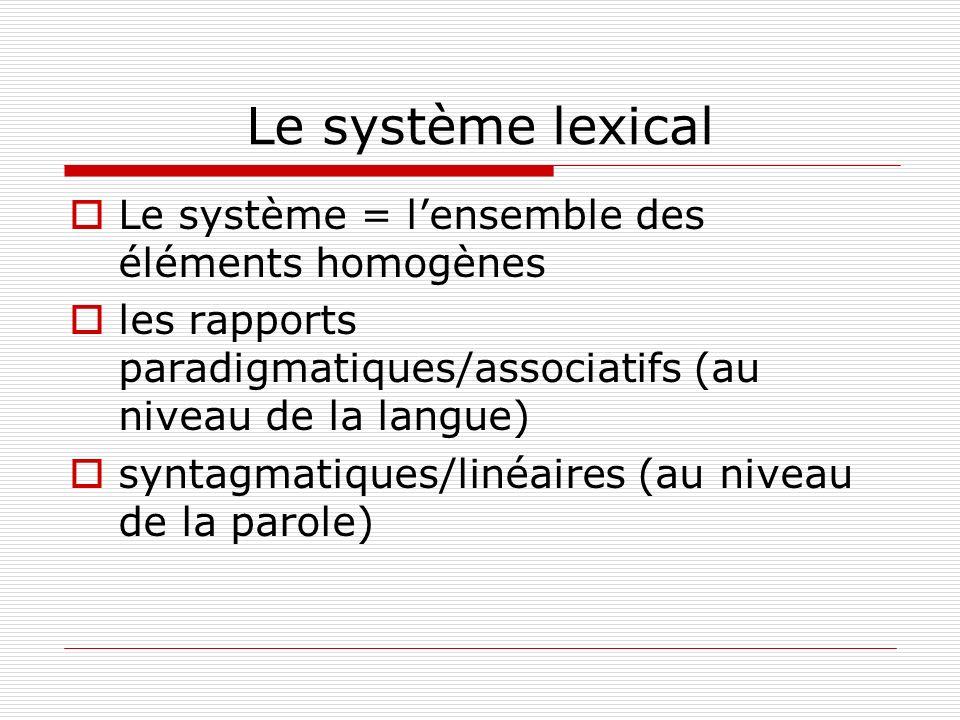 Le système lexical Le système = lensemble des éléments homogènes les rapports paradigmatiques/associatifs (au niveau de la langue) syntagmatiques/liné