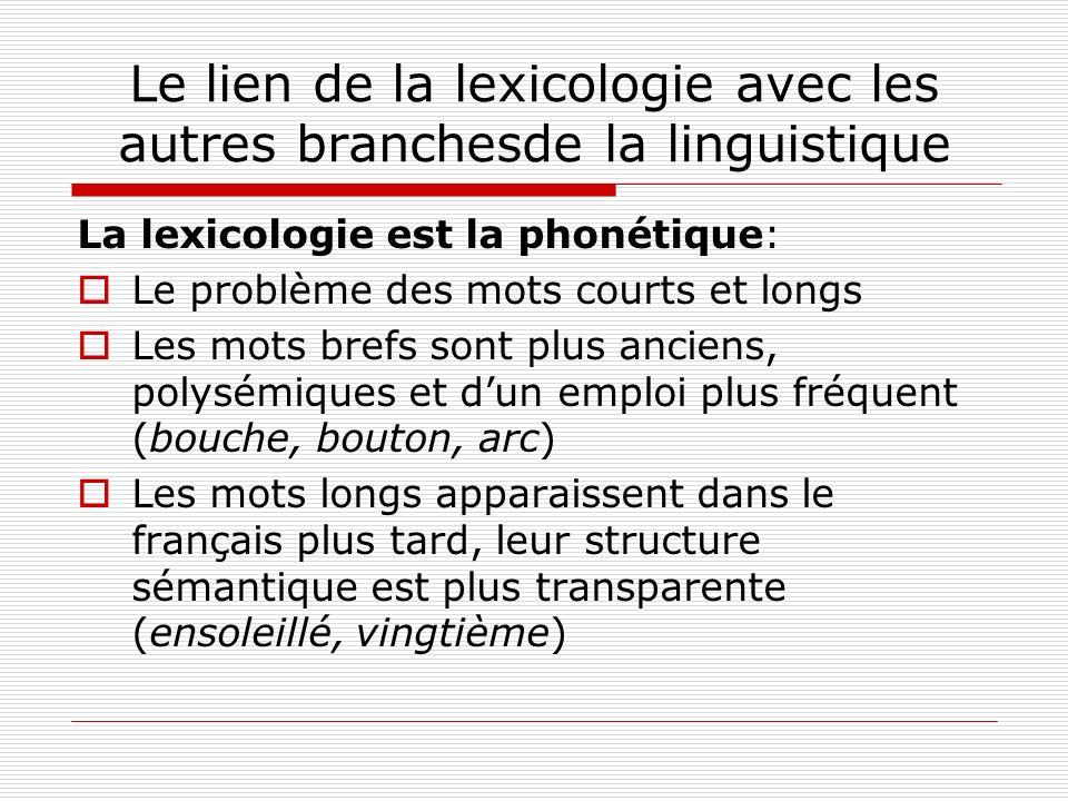 Le lien de la lexicologie avec les autres branchesde la linguistique La lexicologie est la phonétique: Le problème des mots courts et longs Les mots b