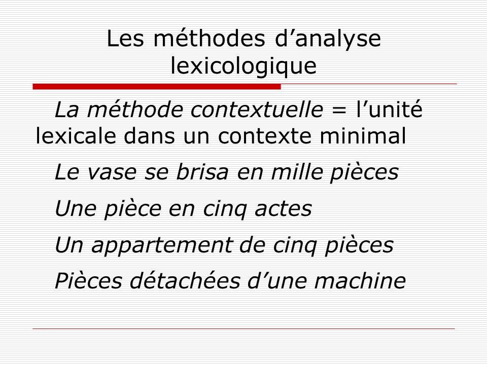 Les méthodes danalyse lexicologique La méthode contextuelle = lunité lexicale dans un contexte minimal Le vase se brisa en mille pièces Une pièce en c