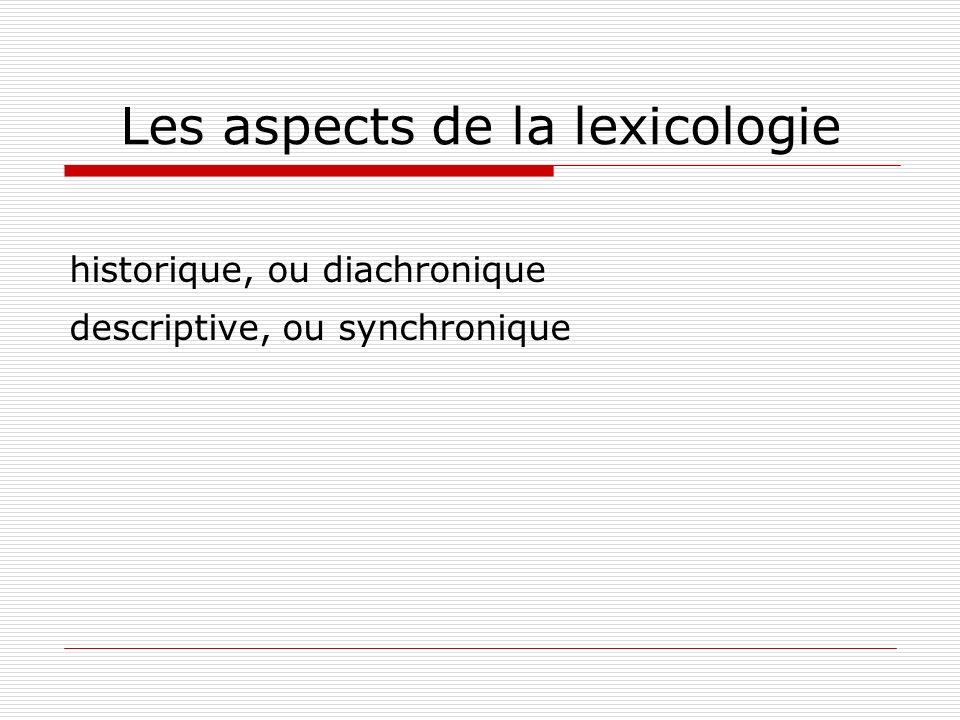 Les aspects de la lexicologie historique, ou diachronique descriptive, ou synchronique