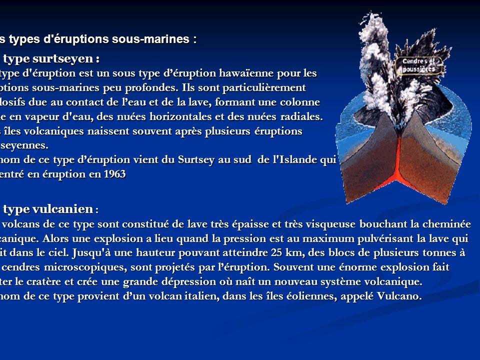 Les types d éruptions sous-marines : Les types d éruptions sous-marines : Le type surtseyen : Ce type d éruption est un sous type déruption hawaïenne pour les éruptions sous-marines peu profondes.