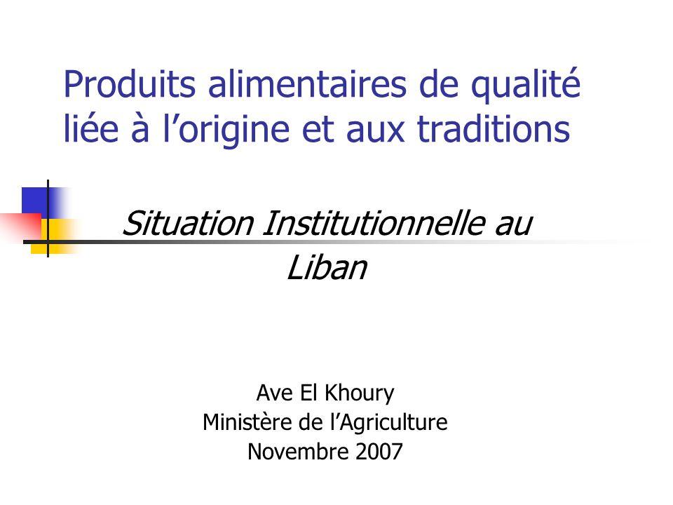 Produits alimentaires de qualité liée à lorigine et aux traditions Situation Institutionnelle au Liban Ave El Khoury Ministère de lAgriculture Novembre 2007
