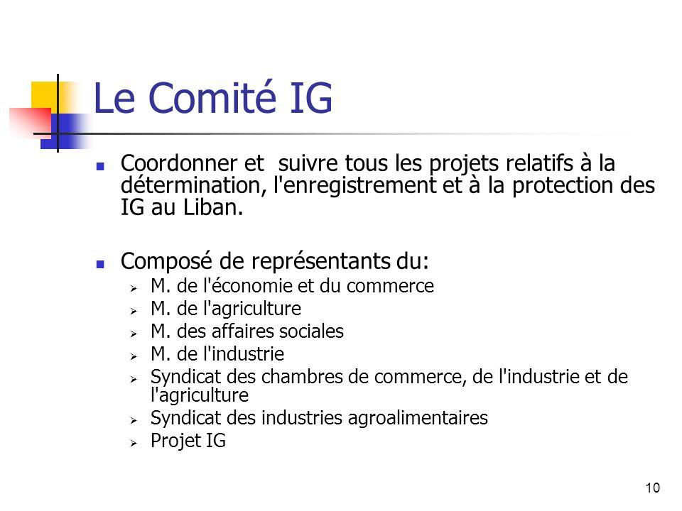 10 Le Comité IG Coordonner et suivre tous les projets relatifs à la détermination, l'enregistrement et à la protection des IG au Liban. Composé de rep