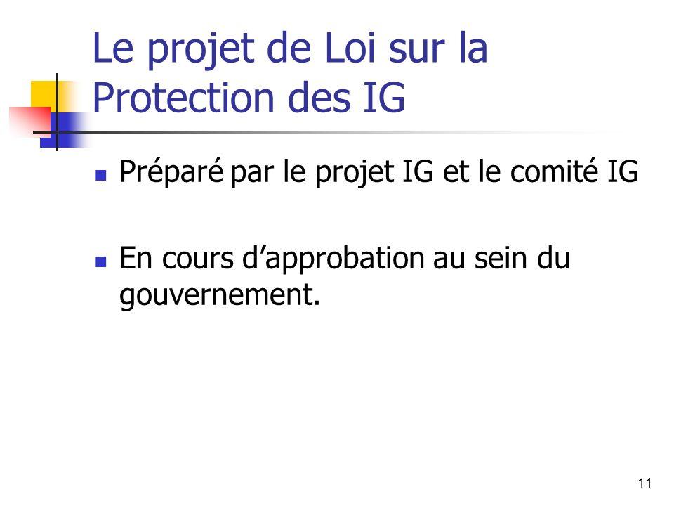 11 Le projet de Loi sur la Protection des IG Préparé par le projet IG et le comité IG En cours dapprobation au sein du gouvernement.