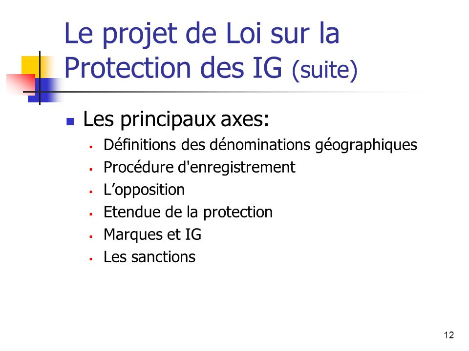 12 Le projet de Loi sur la Protection des IG (suite) Les principaux axes: Définitions des dénominations géographiques Procédure d enregistrement Lopposition Etendue de la protection Marques et IG Les sanctions