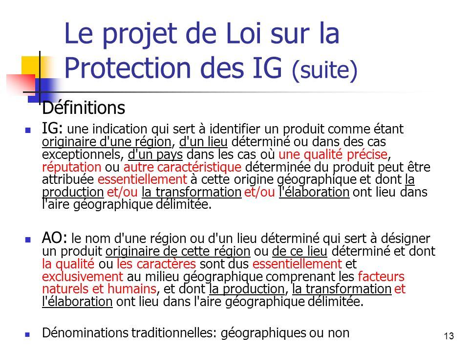 13 Le projet de Loi sur la Protection des IG (suite) Définitions IG: une indication qui sert à identifier un produit comme étant originaire d'une régi