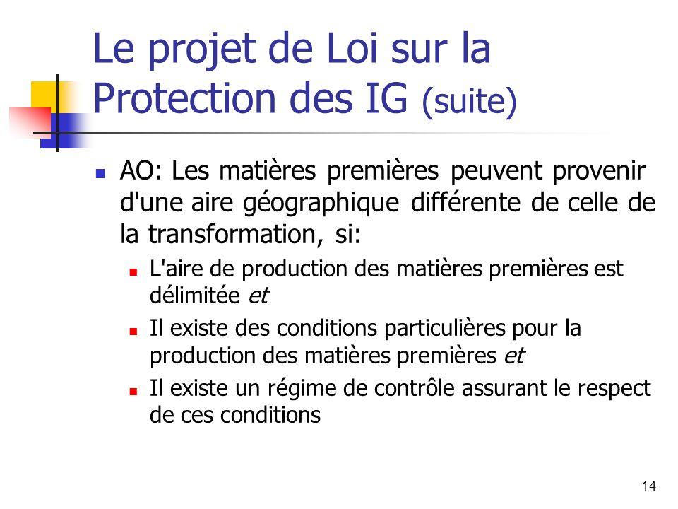 14 Le projet de Loi sur la Protection des IG (suite) AO: Les matières premières peuvent provenir d une aire géographique différente de celle de la transformation, si: L aire de production des matières premières est délimitée et Il existe des conditions particulières pour la production des matières premières et Il existe un régime de contrôle assurant le respect de ces conditions