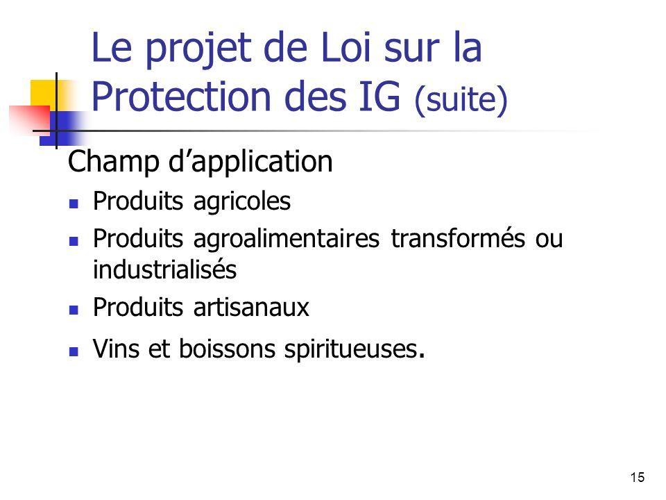 15 Le projet de Loi sur la Protection des IG (suite) Champ dapplication Produits agricoles Produits agroalimentaires transformés ou industrialisés Produits artisanaux Vins et boissons spiritueuses.